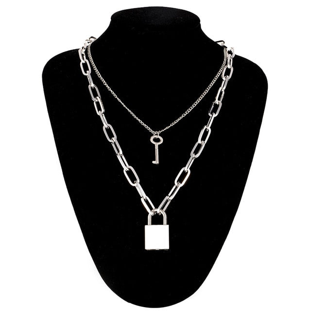 Double layer Lock & Cross Stainless Steel Chain necklace