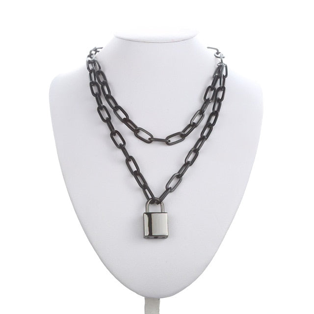 Double layer Black Lock Chain necklace