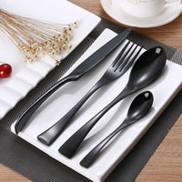 24Pcs /Stainless Steel Black Cutlery Set - Your Goods Central