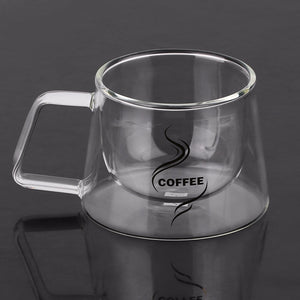 Borosilicate Double Layered Insulated Glass Coffee Handled Cup - Your Goods Central