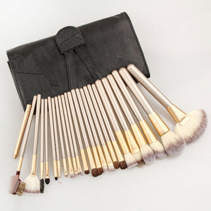 Professional Makeup Brushes Fan/Foundation/Powder Brush/Eyeliner/  With Leather Case 24pcs - Your Goods Central