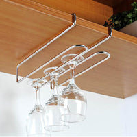 Stainless Steel Wine Glass Under Cabinet Hanging Hold 2-6 Cups - Your Goods Central