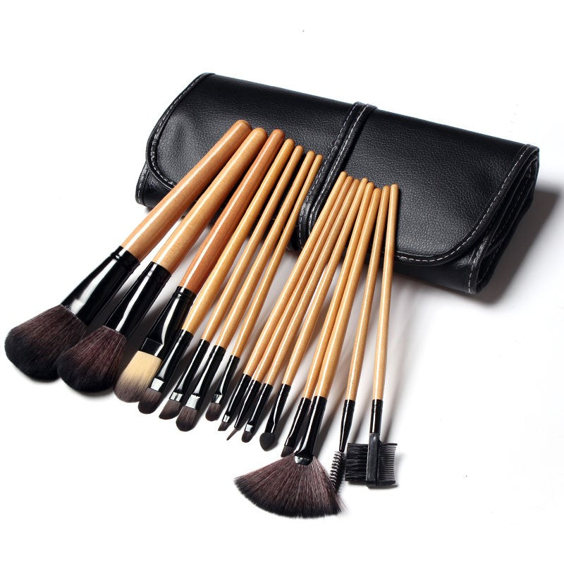 Soft Synthetic Hair Makeup Brush Set with Leather Case/15 pcs - Your Goods Central