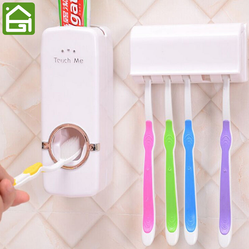 Automatic Family Toothpaste Dispenser is Wall Mount with Accesory Toothbrush Rack - Your Goods Central