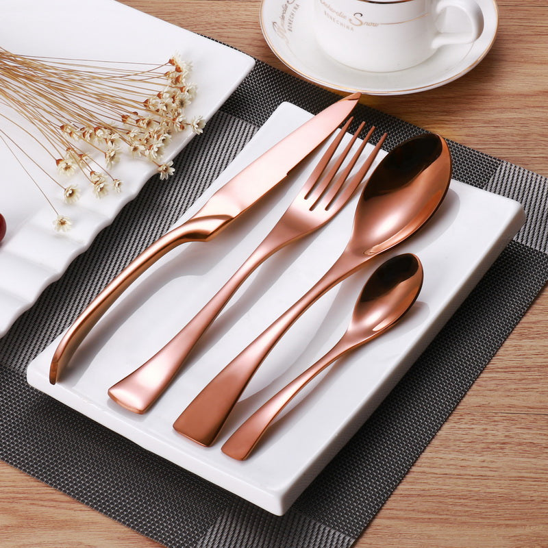 24Pcs/ Stainless Steel Rose Gold Cutlery Dinnerware Set - Your Goods Central