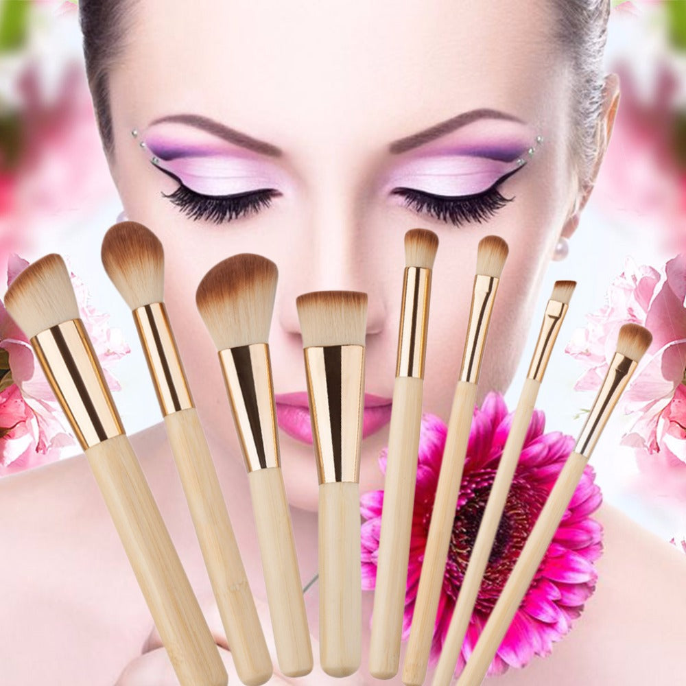 8Pcs Bamboo Handle Makeup Brushes Set - Your Goods Central