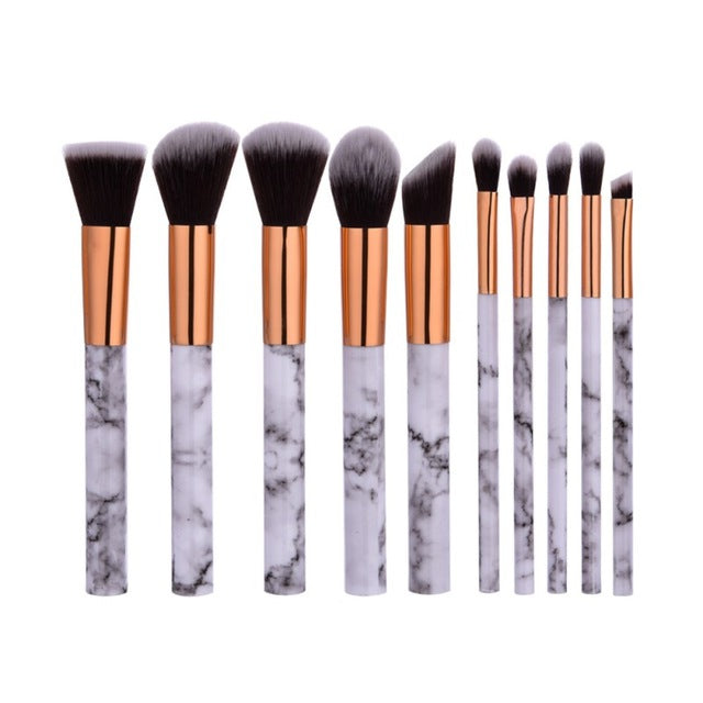 Professorial 10pcs Foundation Powder Brush Marble Make Up Brush Set - Your Goods Central