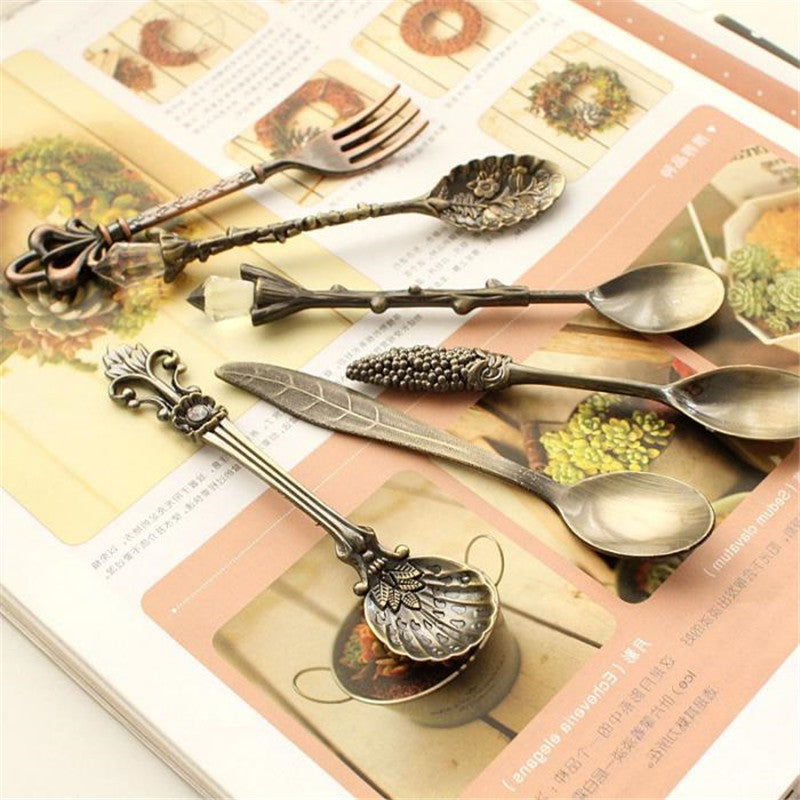 Nostalgic Vintage Royal Style Bronze Carved Small Coffee Tea Milk Dessert Spoon and Fork pics/Set - Your Goods Central