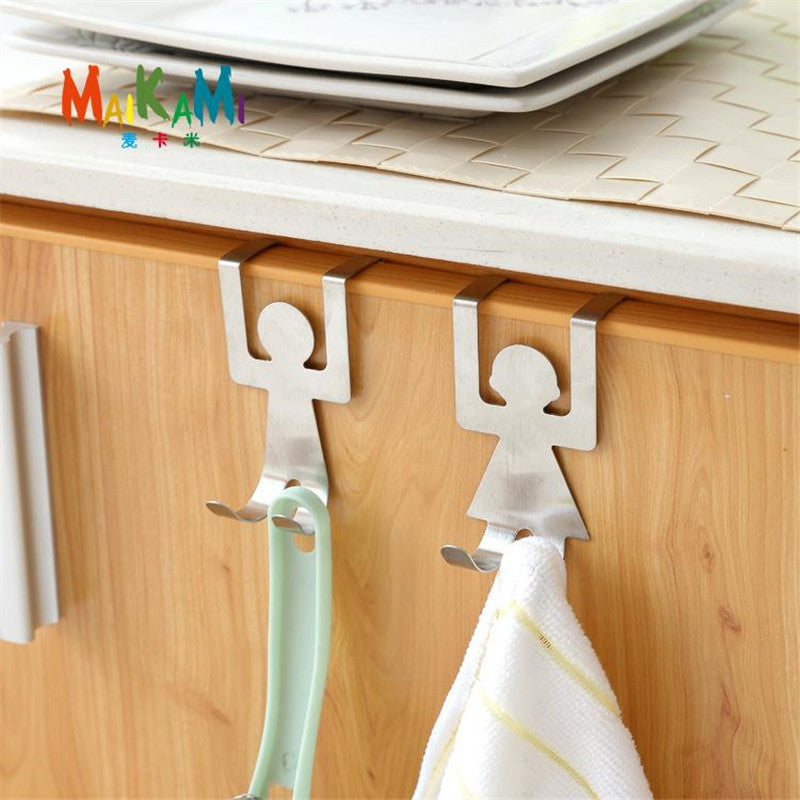 Stainless Steel Lovers Shaped Hooks House Kitchen Pot Pan Hanger Clothes Storage Rack - Your Goods Central