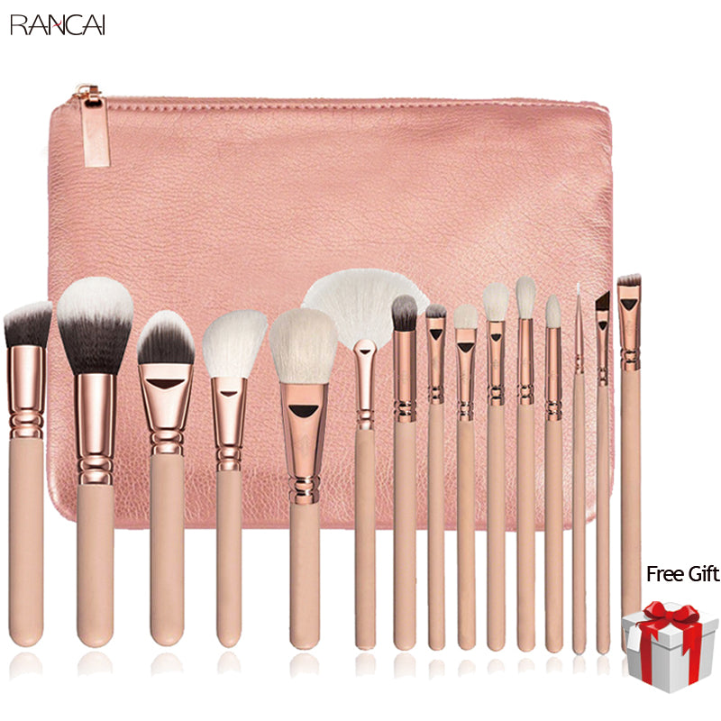 15pcs Makeup Brush Set available with Leather Case in Pink Rose Gold