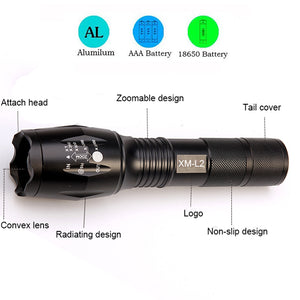 Tactical Flashlight 8000 Lumens CREE XM-L2 Zoomable with 5 Modes - Your Goods Central