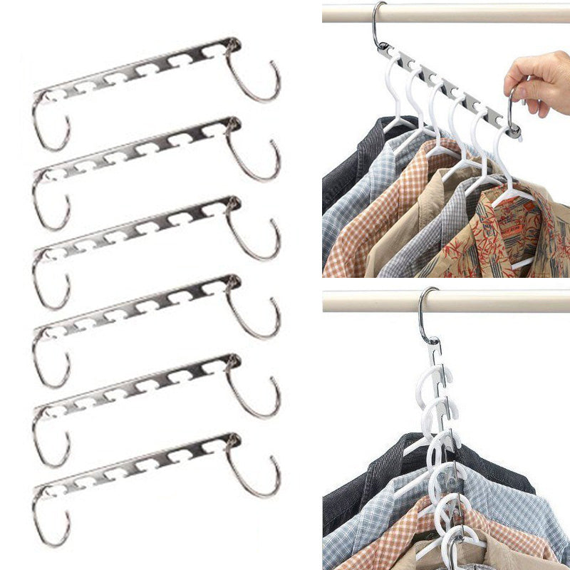 6pcs Stainless Steel Adjustable Pinch Space Saving Clip Clothes Hanger - Your Goods Central