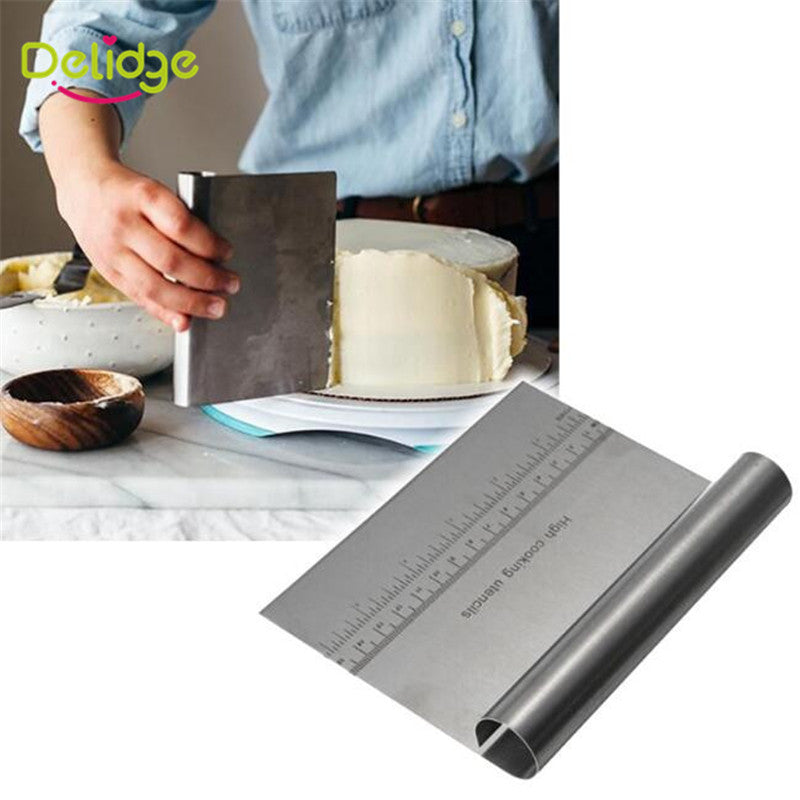 Stainless Steel Pizza Dough Scraper Cutter Baking Pastry Spatulas Fondant Cake - Your Goods Central