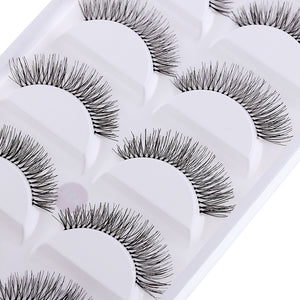 5 Pairs of Natural Black Long Cross False Eyelashes - Your Goods Central