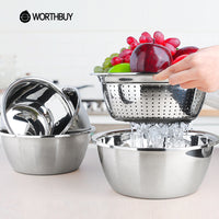 Stainless Steel Mixing Bowl Set with Fruit Strainer (5Pcs Set) - Your Goods Central