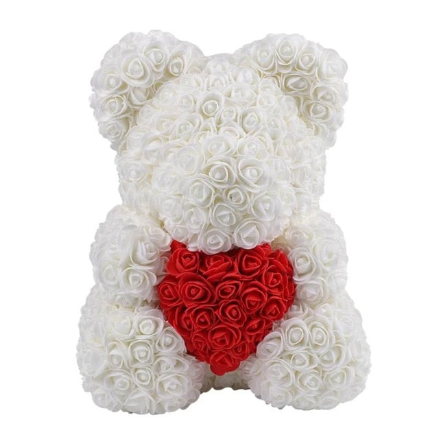 Limited My Heart White Rose Bear