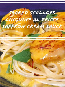 Pan Seared Scallops & Saffron Cream Sauce on a bed of Linguine al dente