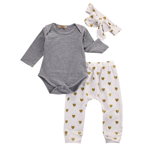 Lovely Set Of Long Sleeve Gray Bodysuit & Heart Pants (0 To 18 Months) Apparel