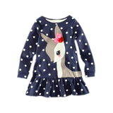 Beautiful Flower-Accent Deer Patterned Polka Dress (2Yrs To 6Yrs) Apparel