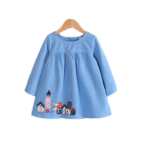 Sweet Long-Sleeve Dress With Vintage Houses Stamp In Blue Or Pink (3Yrs To 7Yrs) Apparel