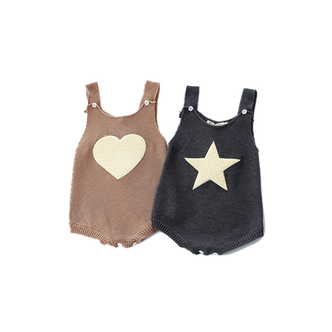 Cute Baby Bodysuit With Star Or Heart Cut (3 Months To 3 Years) Apparel