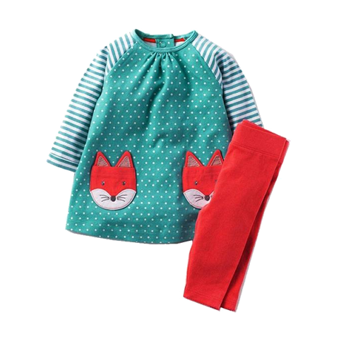 Lovely Appliqued Fox Long-Sleeve Dress W/ Red Socks (2Yrs To 7Yrs) Apparel