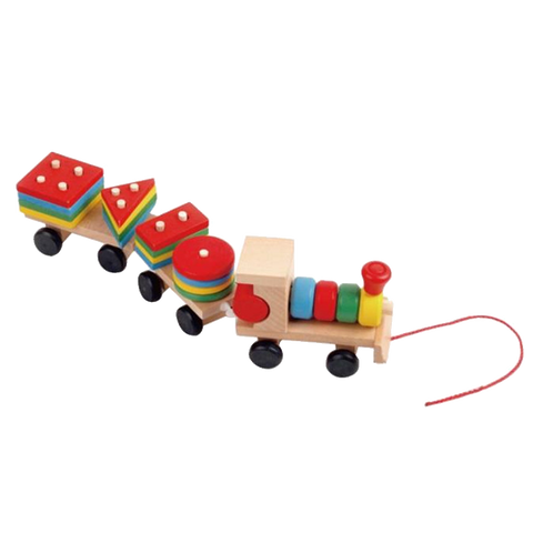 Educational Wooden Train With Geometric Blocks Toys
