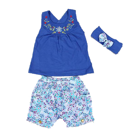 Fashion Blue Baby Dress With Lace (6 To 24 Months) Apparel