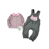 Lovely Cat Pattern Jumpsuit With Printed Dots Dress (6 to 24 months)