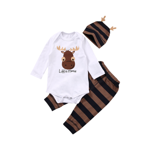 Lovely Little Moose Set With Jumpsuit Beanie And Pants For Babies (4 To 18 Months) Apparel