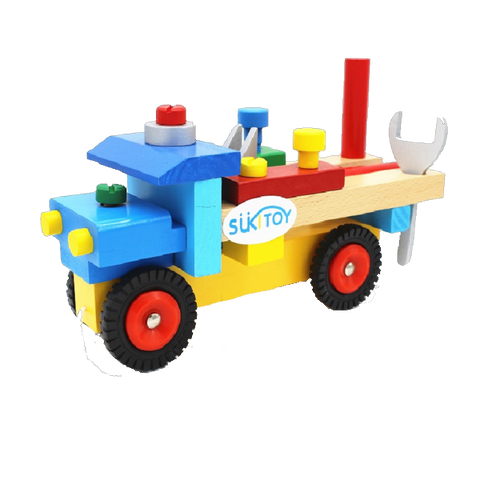 Montessori Educational Wooden Truck With Tools Set Toy