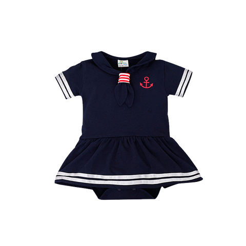 Lovely Short-Sleeve Sailor Romper Unisex (6 To 24 Months) Apparel