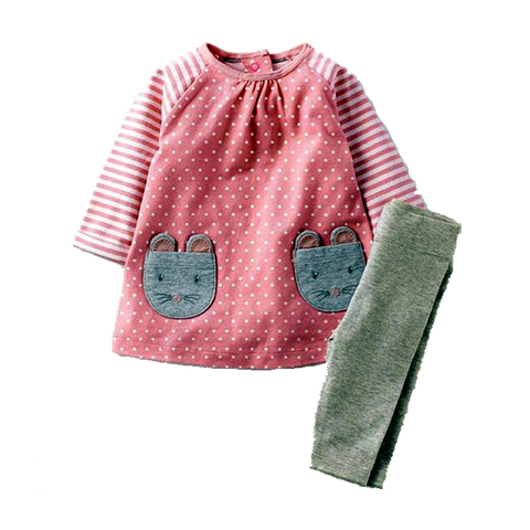 Sweet Appliqued Mouse Pink Long-Sleeve Dress With Gray Socks (2Yrs To 7Yrs) Apparel
