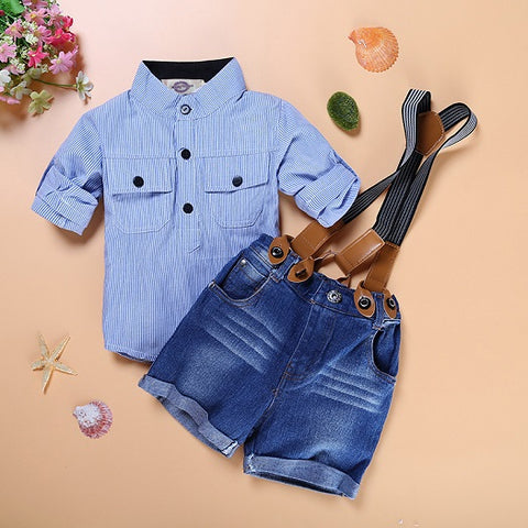 Tz-192 Free Shipping Hot Sell Children Clothing Set Boy Sling Strap Casual Costume Shirt + Shorts Kids Clothes Retail
