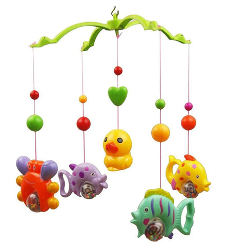 Music Bed Bell Set Funny Fish Crab And Duck Baby Crib Mobile Educational Toy