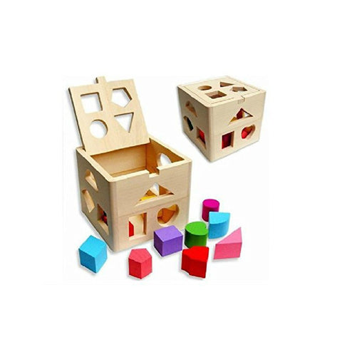 Set Of Kids Baby Educational Toys Wooden Building Block Toddler For Boys Girls