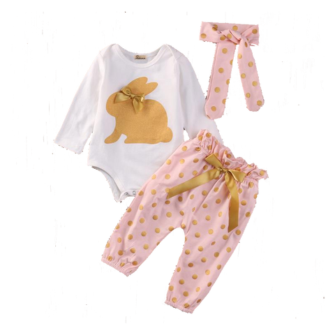Cute Baby Girls Set of Headband, Jumpsuit & Pants (0 to 18 months)