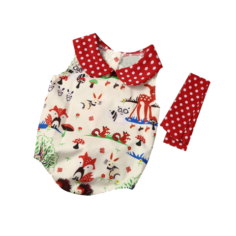 Cute Forest Design Bodysuit With A Lace (6 To 24 Months) Apparel