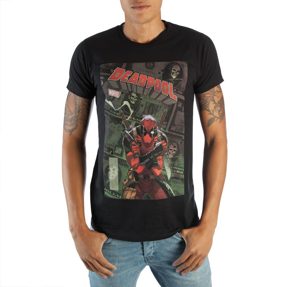 Stylish Marvel Deadpool Men's Black Comic Artwork Graphic Print Boxed Cotton T-Shirt
