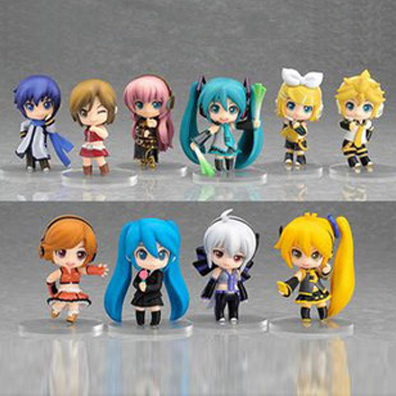 Lot 10 pcs Vocaloid HATSUNE MIKU Action Figures Luka Rin Len PVC Dolls 6.5cm Toy Gift Kids Girls