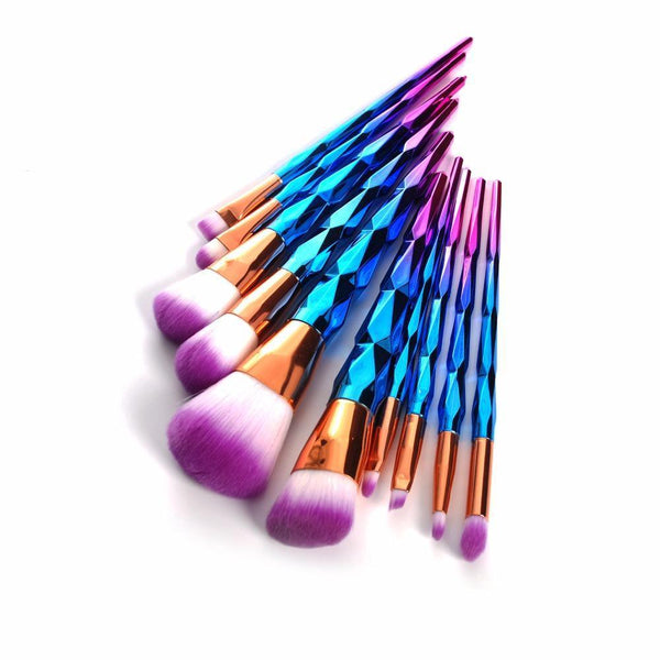 10Pcs Professional Makeup Brush Set Thread Rainbow Handle Makeup Brushes Cosmetics Blusher Powder Blending Smooth Diamond Brush - iGsel- E-handels Kungen, Kvalitet, billigt & Snabbt!