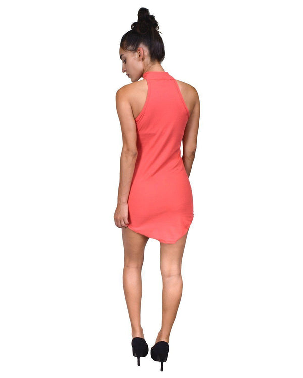 High neck racer-back shirtdress