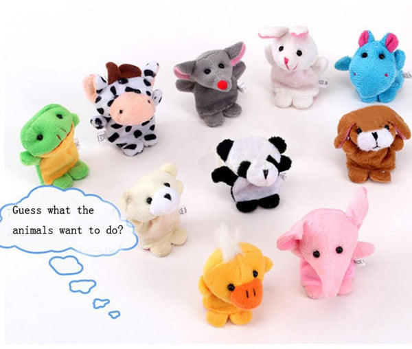 10pcs Animal Finger Puppet Double-footed animal finger Plush Toy Child Baby Early Educational toys finger puppets