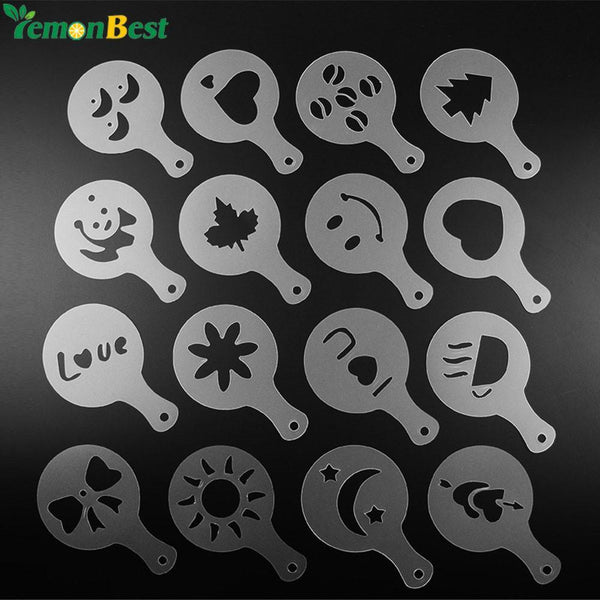 16Pcs Coffee Stencils Mold Milk Template Cake Cupcake Stencil Coffee Barista Cappuccino Template Strew Pad Duster Spray Tools