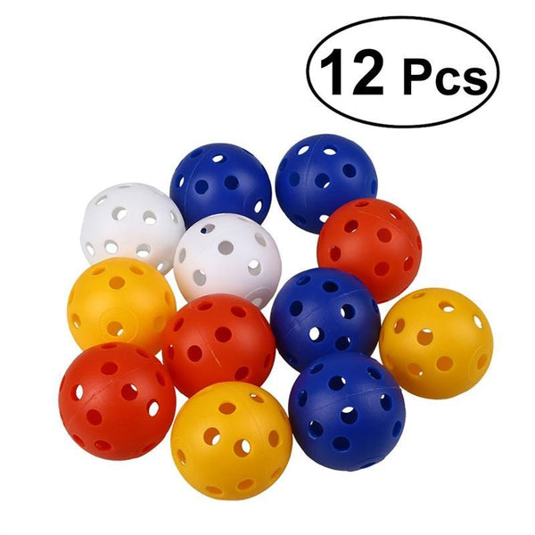 12pcs Perforated Plastic Play Balls Hollow Golf Practice Training Sports Balls