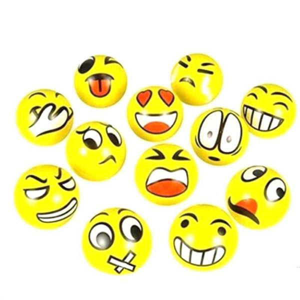 12pcs 6.3cm Facial Expression Ball Relax Stress Balls Smile Balls Foam Toy Balls for Kids Pets
