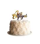 Cake Topper Metálico Just Engaged - Dorado