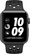 Apple Watch Nike+ MNYX2 38mm Aluminium Grey Nike Plastic Sport Band Black - Jamesen