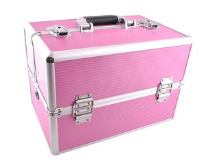 Extra Large Aluminium Cosmetic Make up/Jewellery Box - Pink