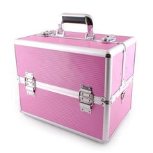 Load image into Gallery viewer, Extra Large Aluminium Cosmetic Make up/Jewellery Box - Pink